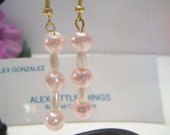 Pink Pearl Linear Dangle Drop Earrings Wedding Bridal Bride Gold Tone