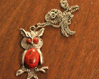 Vintage Jelly Belly Owl Necklace