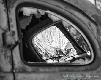 Shattered & Tattered - Black and White - Rustic Wall Art - Retro Print - Vintage Car Photography - Garage Art - 8x10 - Broken Glass - Moody