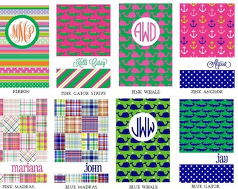 Monogrammed Personalized Preppy Journal Notebook
