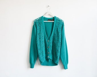 on sale - turquoise crochet & knit cardigan / long sleeve button up sweater / size L