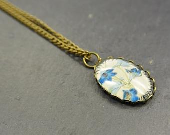 Necklace Flower blue