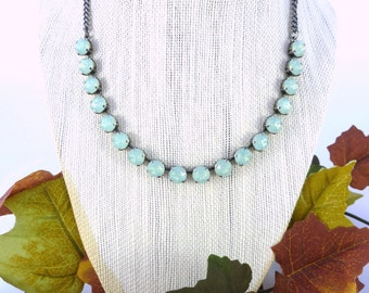 Swarovski crystal necklace, 8mm opals, mint green **SELECT-A-FINISH** Bridesmaids gift, designer inspired Siggy Jewelry