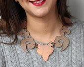 Upuat Copper Necklace, Statement Wolf Maxinecklace