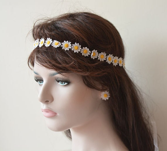 Crochet Hair For Wedding : Wedding hair Accessories, Wedding Crochet Daisy Flower Headband ...