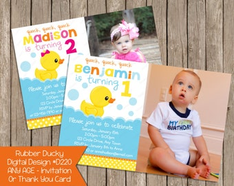Rubber Ducky Duck Birthday Invitation Or Thank You Card, Photo Invite Invites Printable Digital File