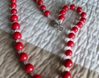 Red Agate Chalcedony 18 Inch Necklace