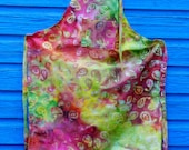 Ladies Full Apron, Batik pattern Reds, yellows and greens, funky apron