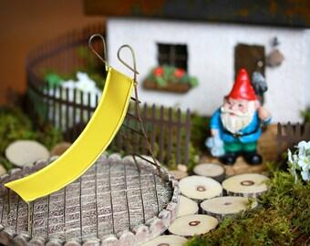 Fairy Garden Slide accessories sunshine yellow miniature for terrarium or mini garden furniture playground
