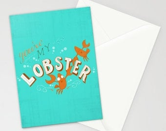 Funny You're My Lobster Hand Lettered Card