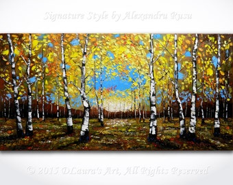Birch Forest Oil Painting ORIGINAL Modern Contemporary Birch Trees in Fall Palette Knife Texture Landscape Gallery Art 40x20 by Alex Rusu