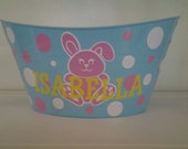 Personalized Basket, Oval Easter Tub, Bunny  and Polka Dots