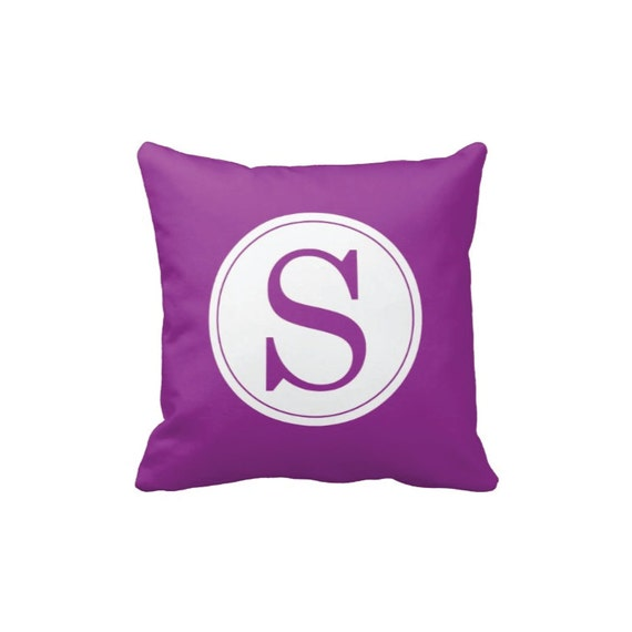 Custom Monogram Initial Throw Pillow & Cover-Purple and White