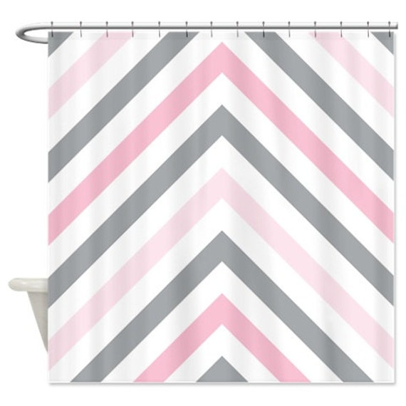 Chevron shower curtain modern grey light pink and white for Light pink and gray curtains