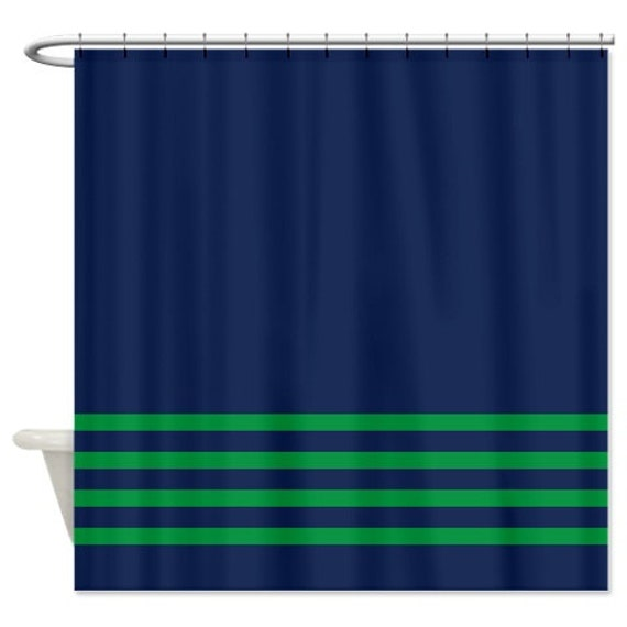 Striped Shower Curtain Navy Blue With Green Stripes OR