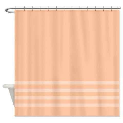 Striped Shower Curtain Peach with Light Peach