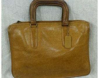Vintage Coach Bonnie Cashin NYC Tablet Laptop Mini Briefcase Attache in British Tan