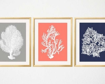 Navy Coral Gray Wall Art, Sea Coral Prints, Coral Grey Navy Blue Art, Bedroom Art, Coral Wall Art, Coral Print, Sealife print,