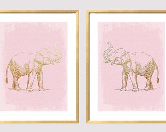 Elephant Art, Pink Gold Elephant Art, Good Luck, Feng Shui, Faux Gold Foil Print, Set of 2 Prints, Chinoiserie, Baby Elephant Nursery Print