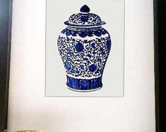 Chinoiserie, Blue White, Blue White Decor, Blue White Wall Art, Blue Vase Print, Chinese Pottery Print, Asian Vase Print