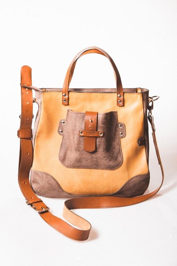 Medium British VOGUE December 2014 Camel City bag, Bag for woman, office bag, school bag, gift