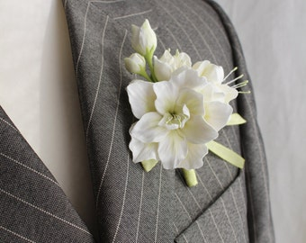 Аzalea .Weddings. Buttonhole Boutonniere for men. Polymer clay flower.