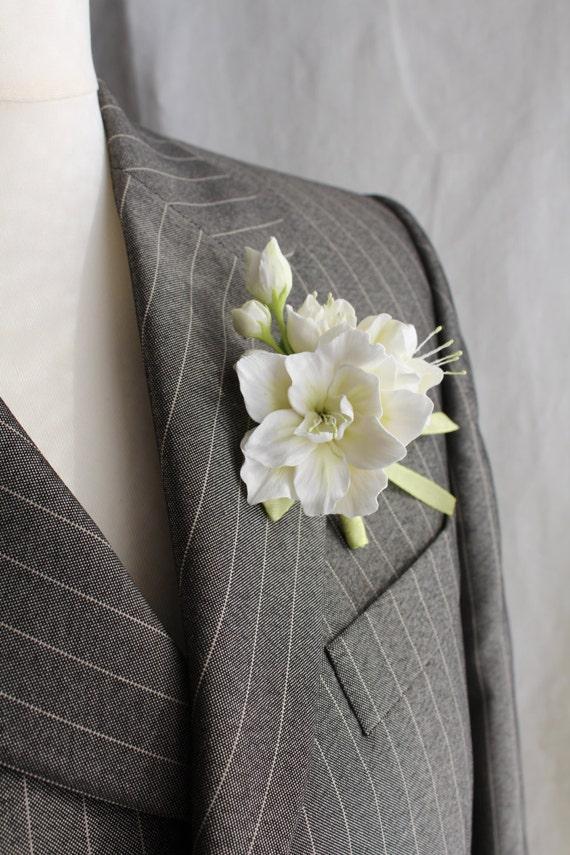 Аzalea .Weddings. Buttonhole Boutonniere for men. Polymer clay flower.