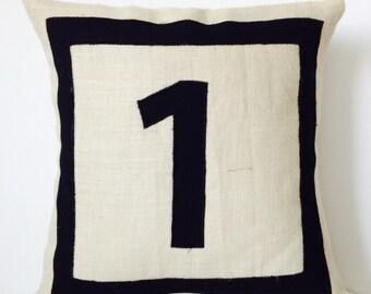 Black Monogram Pillow, Personalized Monogram Throw Pillow, Burlap Pillows With Initials, Initial Pillow, Number Pillows, Beige Burlap Pillow