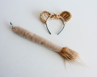 Lion Costume, Lion Ears and Lion Tail, Children's or Adult's Photo Prop, Cosplay, Pretend Play