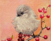 "Original Acrylic Animal Fine Art Painting on Gallery Canvas Titled:GOOD FORTUNE BIRDEE 4x4x1.5"" by Ms. Emily M."
