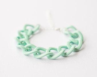 Pastel Mint Green Thick Chain Bracelet