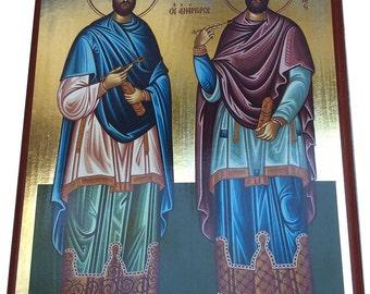 Saint St. Cosmas - Saint St. Damian - Orthodox Byzantine Gilded icon on wood (29cm x 22cm)