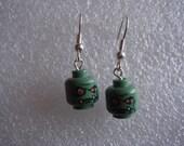 Halloween Zombie lego earrings