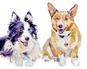 Custom Dog  Portraits - Custom Double Pet Portrait - Watercolor painting -  Dog Painting - Art Gift