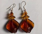 Glass Amber Earrings
