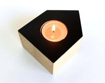 Tea Light Holder | BULLET in solid Poplar Wood with Black color accent