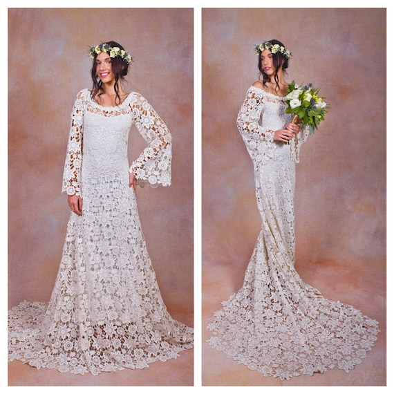 70s style lace bohemian wedding dress ivory or white crochet for Bohemian style wedding dresses