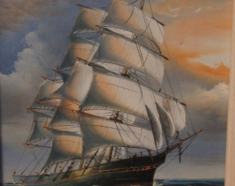 Original oil painting of a ship by Fulton