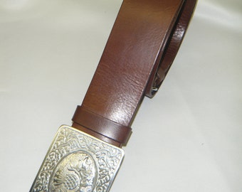 Handmade Brown Leather Kilt Belt.