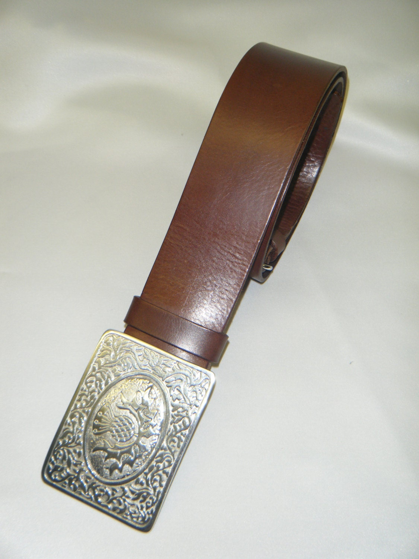 handmade brown leather kilt belt