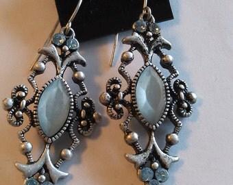 Brand new costume earrings, blueish grey