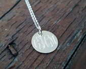 Sterling Classic Engraved Monogram Necklace -  Bridesmaids Gift, PersonalizedJewelry, Mom Jewelry, Silver or Gold Tone