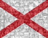 Alabama State Flag Photo Mosaic Collage - 36x24 Inch Print