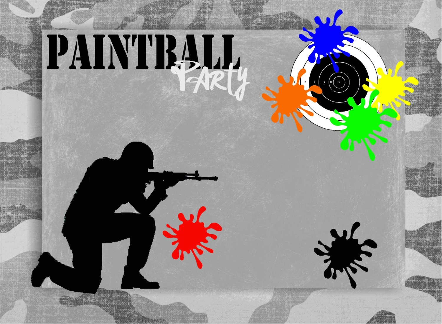 PAINTBALL Party Blank Label printable insert Add-On for