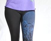 Jellyfish Flower of Life Yoga Leggings - Purple blue blend on 2 American Apparel Legging colors. Sacred Geometry + Organic Forms.