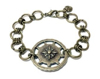 Antique Brass Compass Bracelet