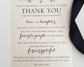 Wedding Welcome Thank You Card to Your Guests - To Our Family and Friends... {set of 30}