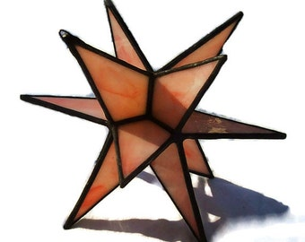 Stained Glass Stars, Moravian Star, 12 Point Hanging Stars, Suncatcher, Coral Glass, Handcrafted, 3-D Glass Art, Tiffany Leaded Glass Gift