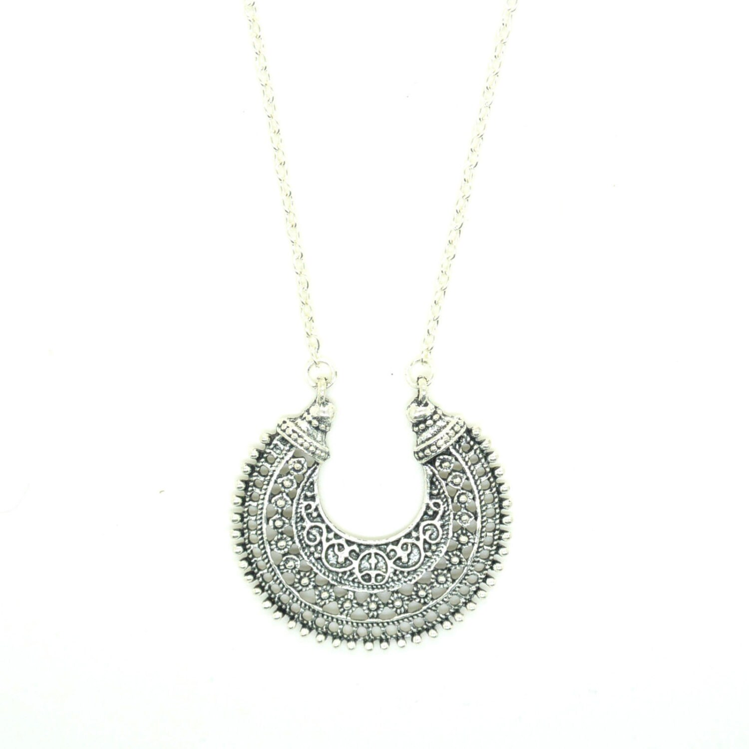 silver crescent moon necklace moon necklace tibetan filigree