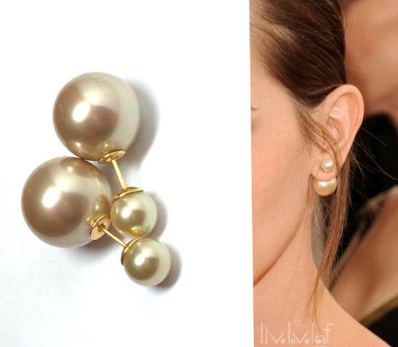 Champagne Color Mise En Dior Style Double Pearl Earrings Faux